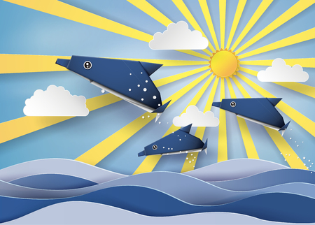 sun beam: Origami made dolphin and sailing boat Float on the sea with sun beam .paper art style.