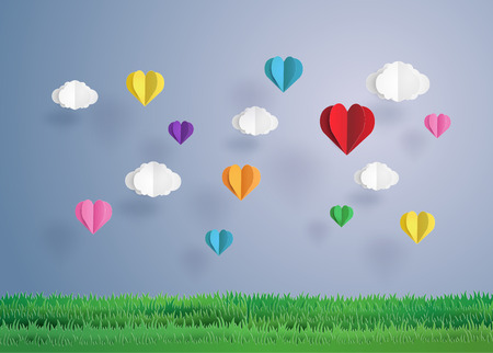 Origami made heart shape.paper art style.