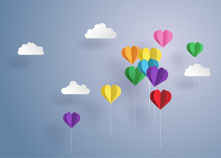 couple in summer: Origami made balloon in a heart shape.paper art style.