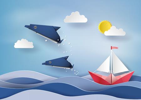 오리가미 만든 돌고래와 범선 바다에 떠있는. 종이 아트 스타일. 일러스트