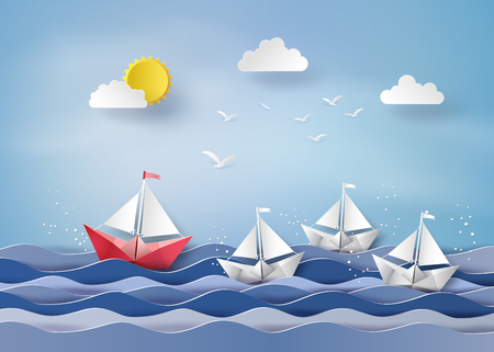 origami made colorful paper sailing boat.paper art style.