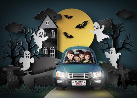 Famille conduite dans la voiture avec le fantôme et le cimetière dans fullmoon.paper stlye art. Banque d'images - 66551776