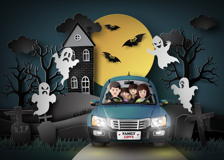 night traffic: Family driving in car with ghost and graveyard in fullmoon.paper art stlye. Illustration