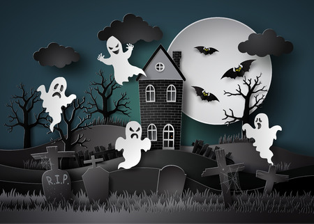 Halloween party with ghost and graveyard in fullmoon.paper art stlye. 版權商用圖片 - 66529620