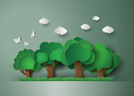 paper art: forest with trees and grass. paper art style Illustration