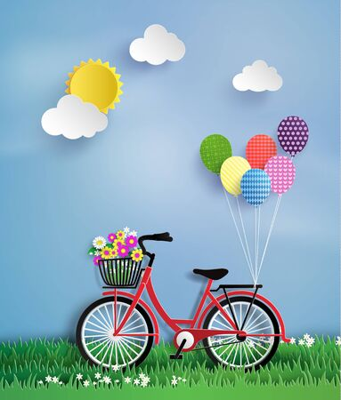 pedaling: Bicycle in the garden with colorful hot air balloon.paper art style.