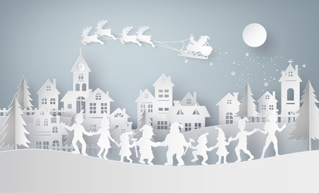 Illustration of  merry christmas and happy new year,Claus on the sky coming to City  with happy family dance around .Design and produce by vector of paper art and craft style