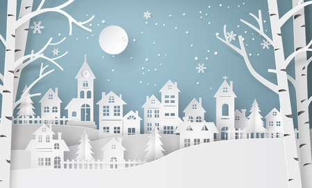 Winter Snow Urban Countryside Landscape City Village with ful lmoon,Happy new year and Merry christmas,paper art and craft style. Vectores