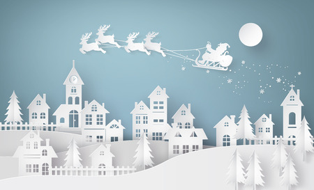 Merry Christmas and Happy New Year. Illustration of Santa Claus on the sky coming to City ,paper art and craft style Vettoriali