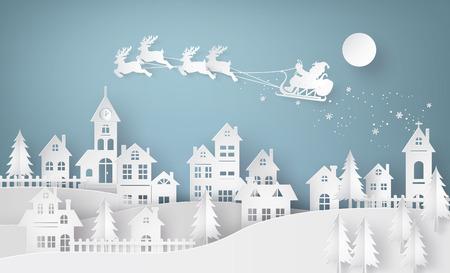 Wesołych Świąt i Szczęśliwego Nowego Roku. Ilustracja Santa Claus na niebie nadchodzi do miasta, sztuki papieru i rzemiosła stylu