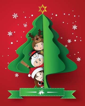 merry christmas greeting card with children wearing fancy dress cute. and christmas tree