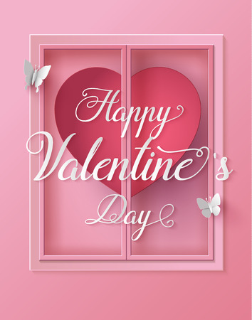 craft paper: Concept of happy valentine day,text on window with butterfly , Paper art and craft style. Illustration