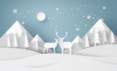 Deer in forest with snow and mountian.vector paper art style.