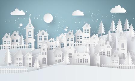 겨울 눈 도시 시골 FUL lmoon, 종이 예술과 공예 스타일의 풍경 도시 마을.