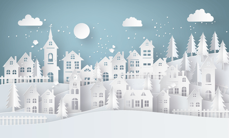 ful: Winter Snow Urban Countryside Landscape City Village with ful lmoon,paper art and craft style.