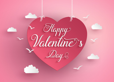 Concept of happy valentine day,text  in a heart shape float on sky, Paper art and craft style.