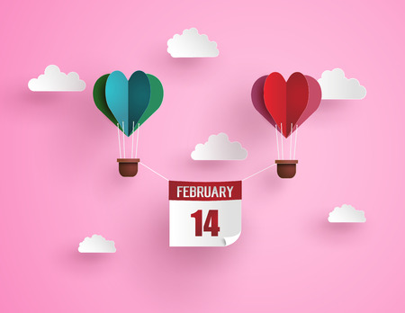 Origami Made Heart Balloons And Clouds, Heart Balloon On The ...