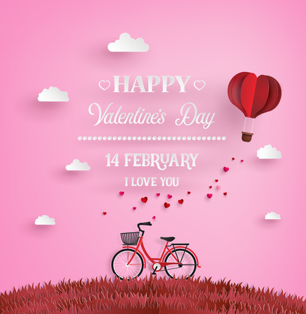 paper art: Illustration of love and happy valentine day,Red bikes parked on the grass with heart shaped balloons  floating on the sky with message. paper art and craft style.