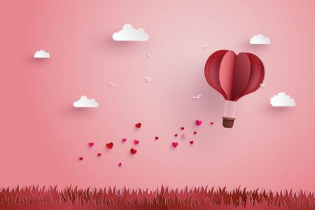 ilustración de amor valentine días, Origami hizo globo de aire caliente vuela sobre hierba con el flotador corazón en el estilo de arte sky.paper.