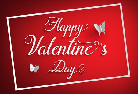 paper art: Concept of happy valentine day,text on red background with butterfly , Paper art and craft style.