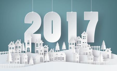 Happy new year and winter season , Snow Urban Countryside Landscape City Village with text 2017,paper art and craft style. Stock Illustratie