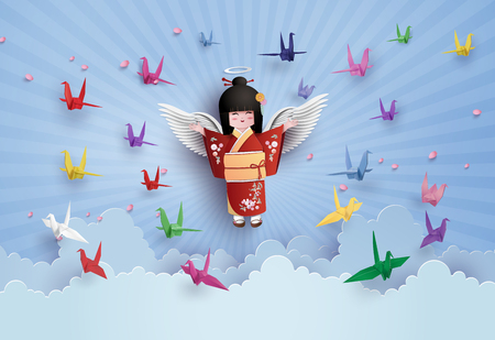 Japanese girls wearing national dress  and origami bird flying on the sky with cloud.paper art and craft style. Illustration