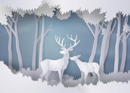 Herten in het bos. Beeldende kunst en ambachtelijke stijl Stock Illustratie