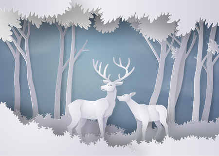 Deers in the forest.paper art and craft style Illustration