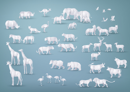 Illustration of wild animals in many types ,paper art and origami style.