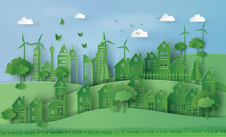 Concept of eco with Urban Countryside Landscape City Village.
