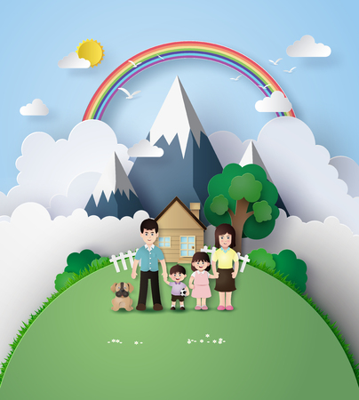 enjoying: Paper art of Happy family having fun with home and rainbow over the mountain. Illustration