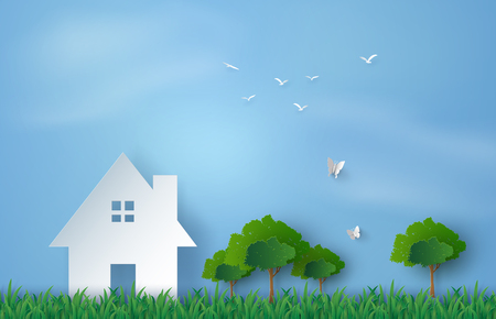 grass plot: Paper art of house in green field and blue sky.