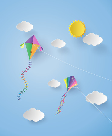 Colorful kite flying on the sky.paper art and craft style. Иллюстрация