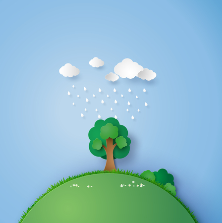 ilustration: ilustration of a lone tree in the field with the rain and cloud. paper art and craft style.