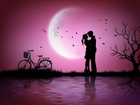 Illustratie van liefde en Valentijnsdag met paar silhouet en halve maan. Stock Illustratie