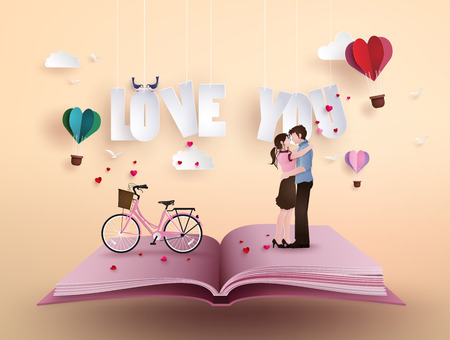 Illustration of love and valentines Day,  with couple standing hugging on open book with pink bicycle .paper artand origami style.