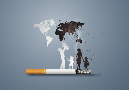 Illustration of concept no smoking day world with family,paper art style.