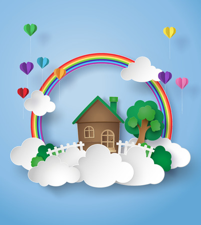 paper art of little home on the sky with rainbow and cloud.