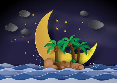 Het eiland in de middernacht met halve maan, papieren kunst en ambachtelijke stijl. Stock Illustratie