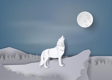Loup hurlant sur la falaise Dans la nuit de la pleine lune, papier et artisanat. Banque d'images - 81067881