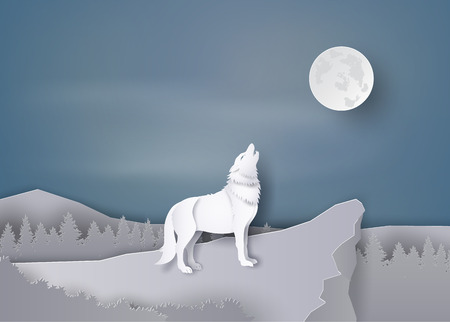 Wolf huil op de klif Op de nacht van de volle maan, papieren kunst en ambacht.