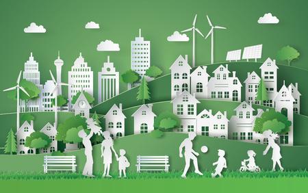 Illustratie van eco en wereldmilieu dag met gelukkige family.paper kunst stijl. Stock Illustratie
