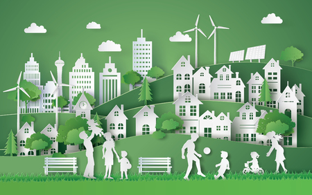 illustration of eco and world environment day with happy family.paper art style. Reklamní fotografie - 81067859