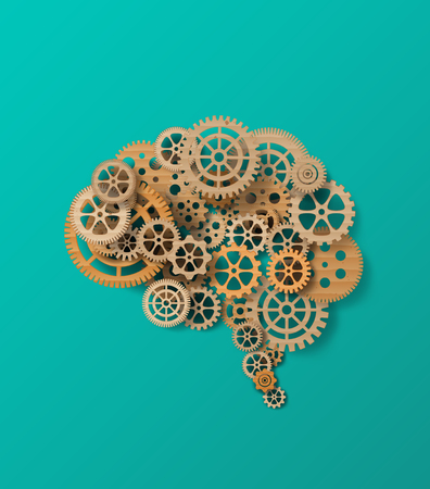 Vector illustration brain and gear.paper cut style.