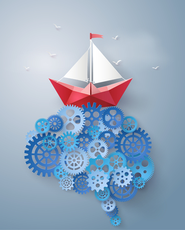thinking machines: Concept of leader vision and thinking, paper boat sailing float on the brain gear,paper art and craft style