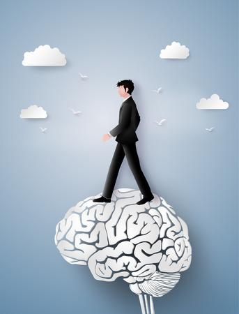 リーダーのビジョンと考えて、脳歯車の上を歩くビジネスマンの概念のペーパー アートや工芸品のスタイル