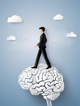 Concept of leader vision and thinking, business man walking on the brain gear,paper art and craft style