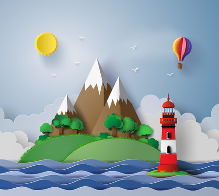 iillustration of lighthouse with island and seascape. Ilustracja
