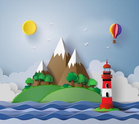 iillustration van vuurtoren met eiland en zeegezicht.