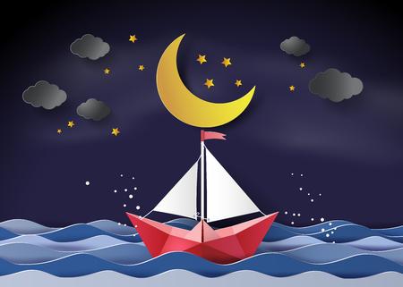 papieren zeilboot drijvend op de zee in halve maan.paper kunst en ambachtelijke stijl.